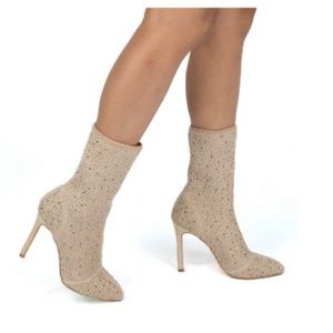 Shoes - TAN SOCK BOOTS WITH RHINESTONES